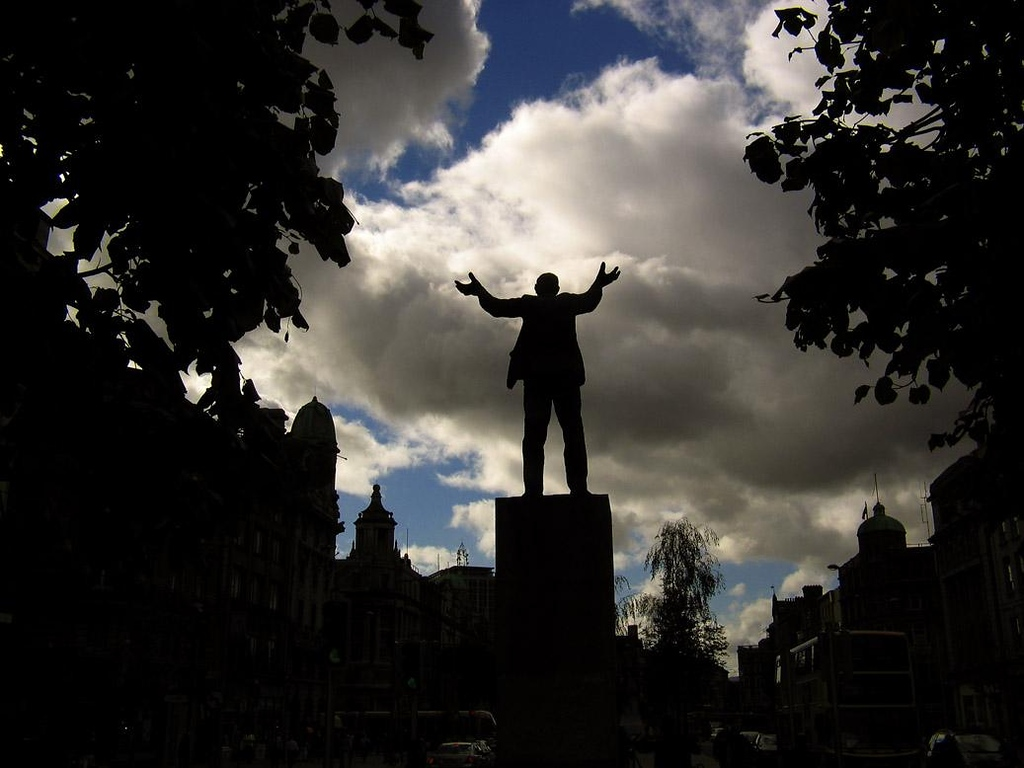 Big Jim Larkin, Dublin - A spectacular sculpture of Big Jim Larkin, founder of the Irish Labor Party, stirs the clouds from its pedestal in the middle of Dublin's O'Connell Street.