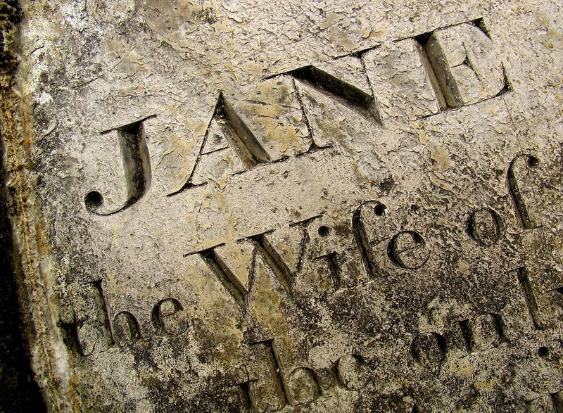 Remembering Jane, Falmouth - A gravestone marks the last resting place of a woman named Jane in the small burying ground of Falmouth's Church of King Charles the Martyr. (The church is next door to the Kings Head pub.)