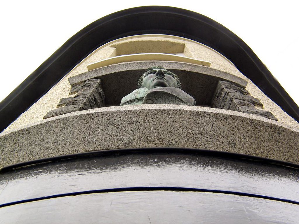 Pub Bust, St. Peters Port - A bronze bust of the fellow who founded this St. Peters Port pub over 200 years ago still gazes out from a niche above the front door.