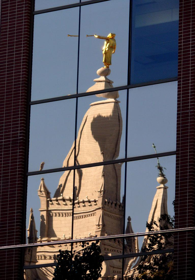 Salt Lake City reflections - The historic Mormon Temple shimmers in a modern office building.