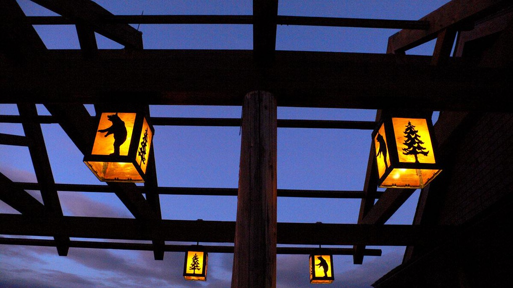 Snow Lodge, Yellowstone - We stayed at Snow Lodge, which greets evening visitors with glowing lanterns over its entrance.