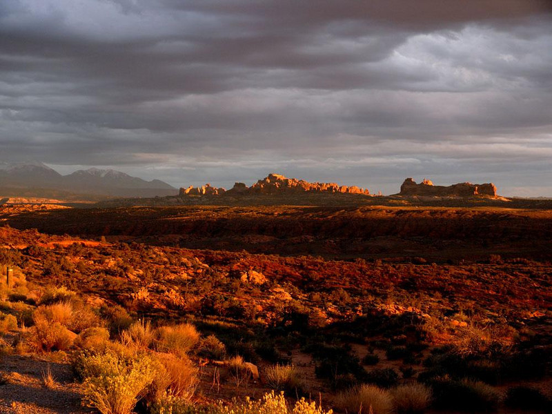 Dusting of gold, Arches National Park - Sunsets at Arches can be breathtaking.