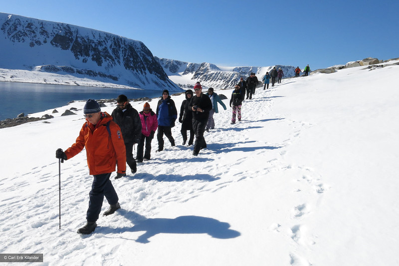 Svalbard, hikers on Chermsideøya