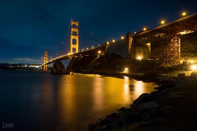 Golden Gate Bridge, at night