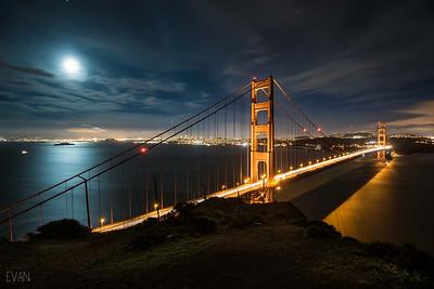 Top of the Golden Gate bridge, Marin side. Bonus full moon reflection on Alcatraz