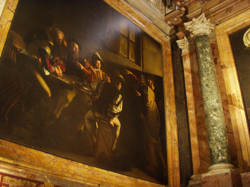 A painting of St Matthew by Caravaggio--there were 3 paintings by Caravaggio in one church... I like the lighting in his paintings; compared to many of his contemporaries, they are really quite good.