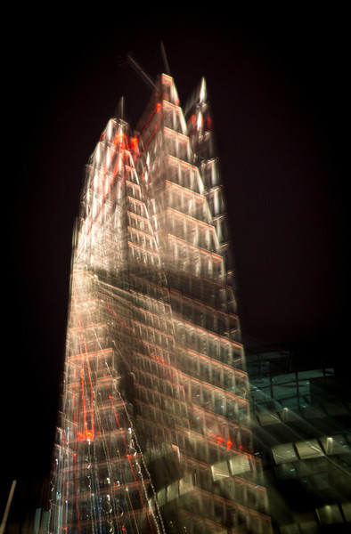 The Shard Building with a long exposure and twisted zoom action