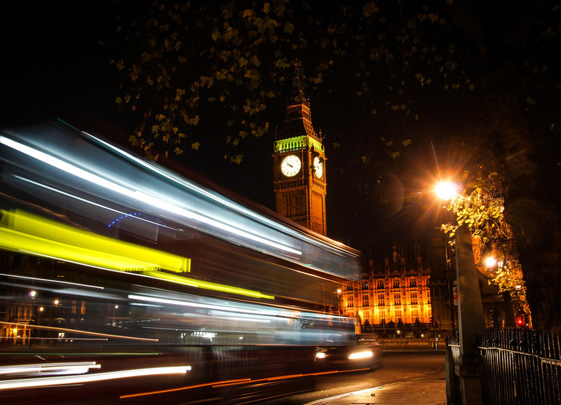 Big Ben with a long exposure and a red bus