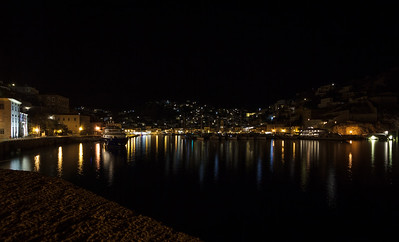 Hydra harbor at night