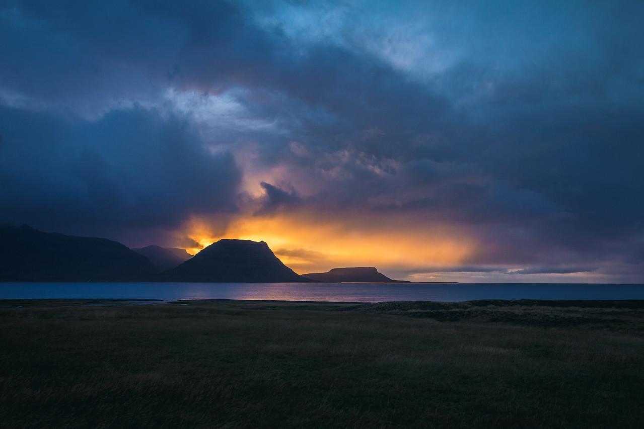 Sunset behind Kirkjufell