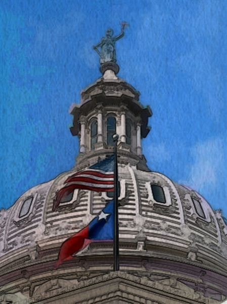Watercolor and line art by Roberta. Capitol of Texas, Austin