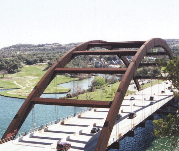 The 360 bridge from the hill across the highway