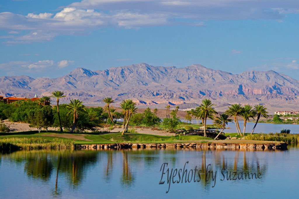 Beautiful Lake Las Vegas.  Lovely resort community on a man-make lake in the suburb of Henderson, NV.  The mountains in Nevada have their own unique look.