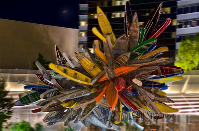 """Big Edge""   is the sculptural centerpiece of the Las Vegas City Center roundabout.  An assemblage of over 200 boats, mostly old aluminum canoes, some row boats & flat-bottom boats,  the hulls held together with steel wire.  I had read about it and really wanted to get a photograph - thought it came out pretty good....comments please.  It's unusual if nothing else!"