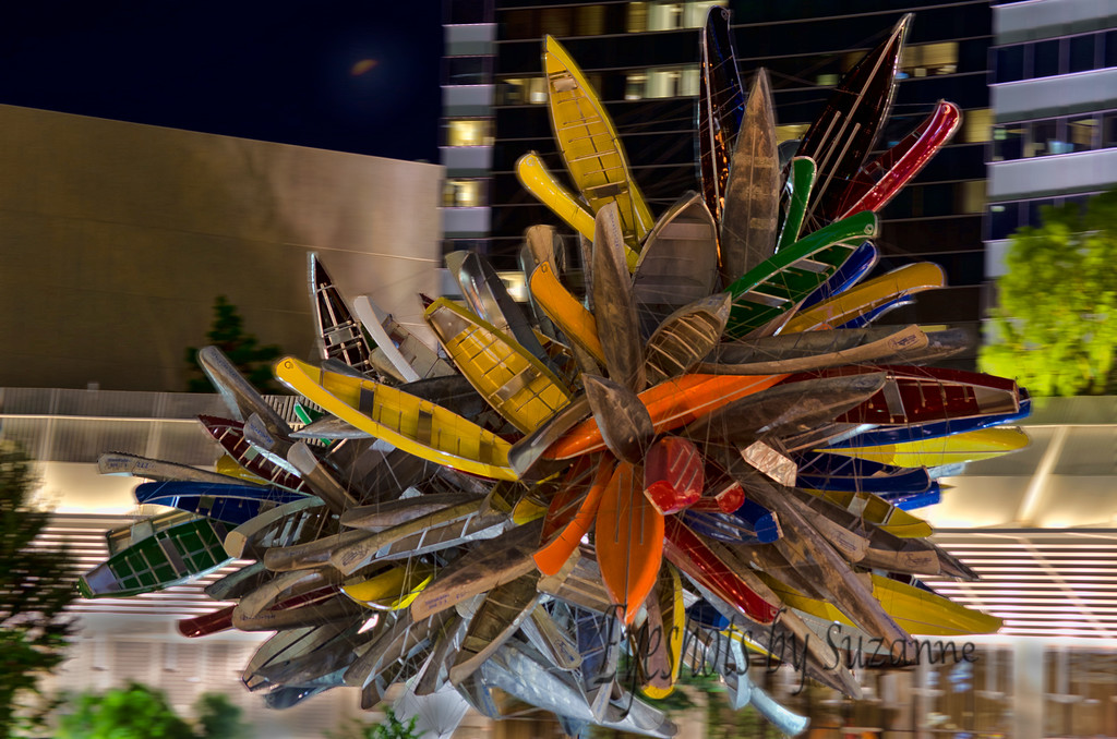 """""""Big Edge""""   is the sculptural centerpiece of the Las Vegas City Center roundabout.  An assemblage of over 200 boats, mostly old aluminum canoes, some row boats & flat-bottom boats,  the hulls held together with steel wire.  I had read about it and really wanted to get a photograph - thought it came out pretty good....comments please.  It's unusual if nothing else!"""
