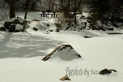 Picnic Anyone....The snow was perfect and I loved the shadows in this area of Eldorado Canyon State Park, Boulder, CO