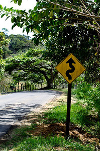 This sign says it all - ALL the roads are like this  - not quite two lanes, winding and steep!