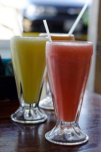 Fantastic fresh fruit smoothies were available at all the restaurants.