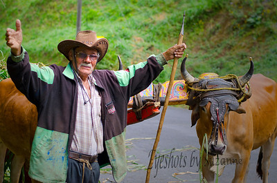 On the road to LaPaz, when I jumped from the vehicle to take this picture, the gentleman posed for me, and wanted dollars!  Love the beautiful oxen yokes.