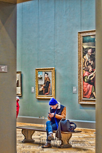 A DAY AT THE MET  Couldn't believe this young man was so intent on his cell phone with the beautiful art and colors in this room!  CRITIQUES WELCOME!