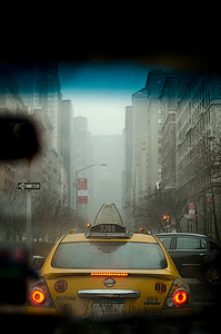 ITS A WHITE OUT - View from inside our Taxi in Manhattan