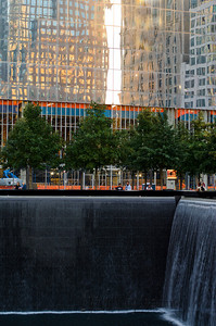Sunset and reflections at the National 9/11 Memorial