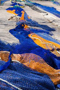 Fishing nets - laid out to dry for repair at the Port of Palma