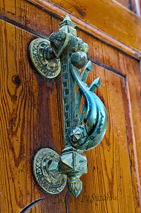 Art from another Era. Found a pair of beautiful brass door handles on huge oak doors while strolling through the streets near the Plaza Mayor.  Couldn't resit photographing the fabulous detail!