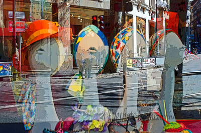 Walking along the Passeig de Born ('shopping central' in Palma known for it's up-scale shops),  I spotted these colorful hats and scarves.  This is the shot I got with the reflection of the street behind.  Decided to go with it - I loved all the colors.  What do you think?