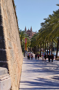The port streets of Palma with the Cathedral (Le Seu) in the background.