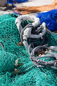 Colorful fishing nets at the Port of Palma