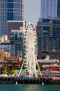 The Seattle Great Wheel, on Pier 57  Not quite as tall as the London Eye (443 ft), the Seattle Wheel is 175 ft of excitement. View larger to take in the great waterfront detail!