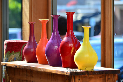 Vases Found these colorful vases sitting in a shop window on Bainbridge Island.  They were begging to be photographed!