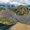 Pórsmörk Valahnúkur - Pohled na ledovec Mýdarsjökull