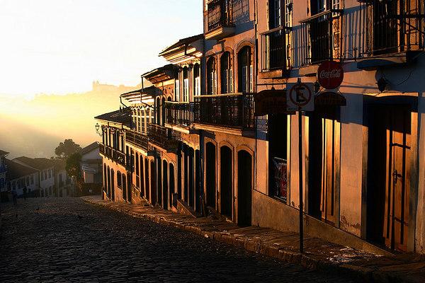 Golden street, Ouro Preto, Minais Gerais state, Brazil.