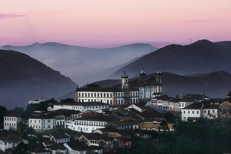Mist over the church, Ouro Preto, Minais Gerais state, Brazil.