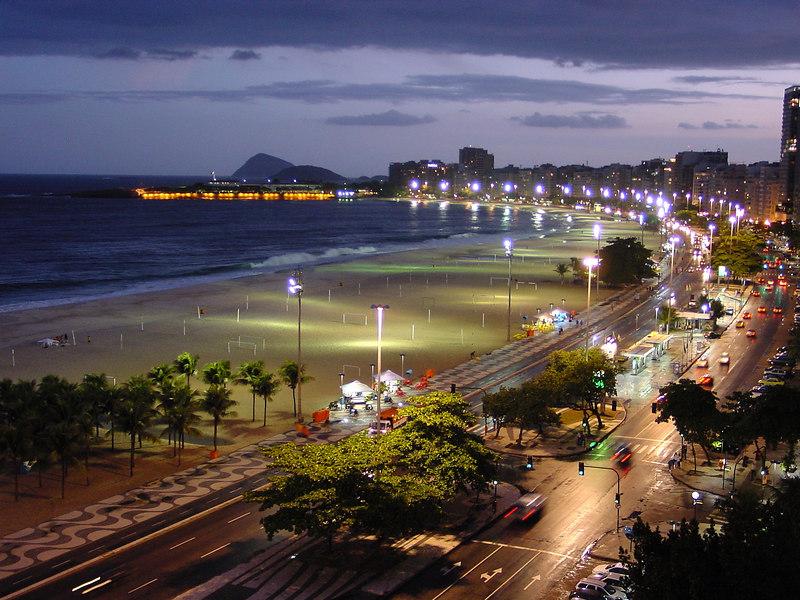 Copacabana avenue, few minutes after the rain, Rio de Janeiro, Brazil.