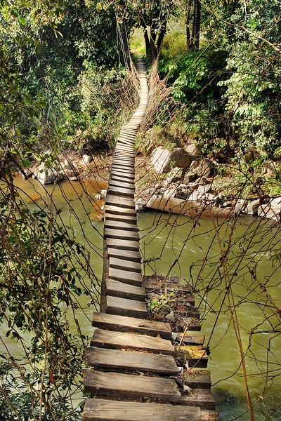 Narrow bridge over the Kimbi river, north of the Ring road, Bum, Cameroon