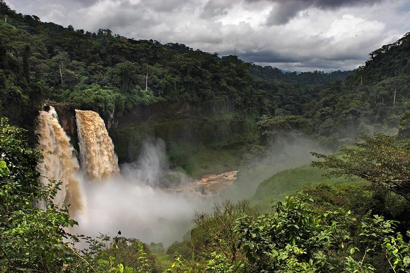 Ekom, the 80m high waterfalls during the rainy season, Cameroon.
