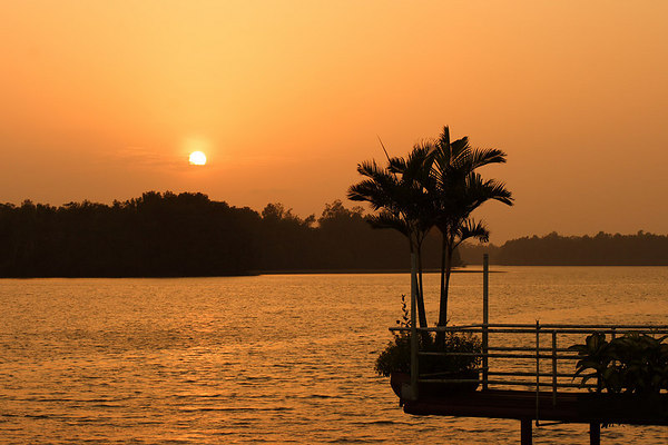 Sunset over the Wouri river, Douala, Cameroon.