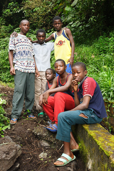 Left to right : Eric, Gerard, Roland, Desmon, Georges and Regis my guides for a walk on the Mt Cameroun, Buea, Cameroon.