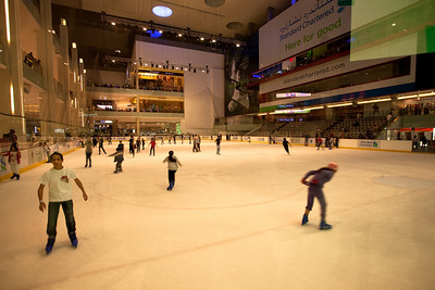 Sliding in the Dubai Mall, Dubai, UAE.