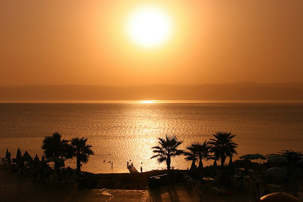 Sunset on the Deadsea with the Israeli shore in front of us, Road down from Mount Nebo, Jordan.