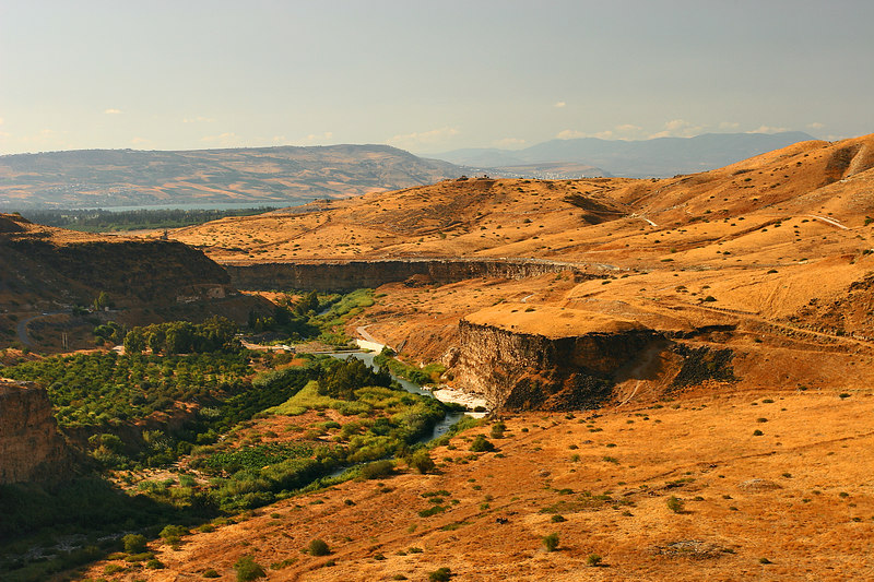 Tiberiade lake (west), the Golan heights and the Syrian border (front), Um Qays, Jordan.