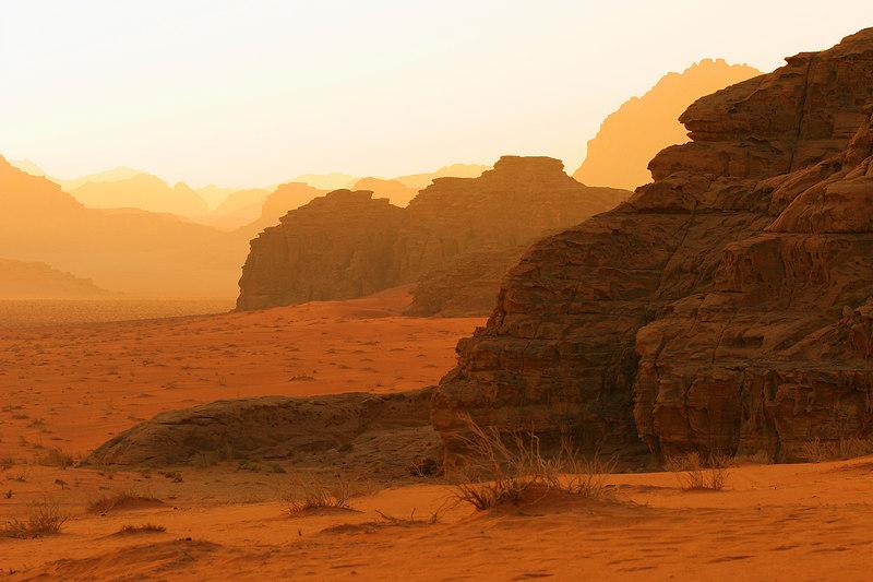 Wadi Rum desert at sunrise, Jordan.