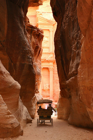 "The ""Kezneh"" tomb (The Treasury) outside of the narrow path called ""Siqh"". It was erected 20 centuries ago by the Nabatean people along a very ancient commercial route. Petra, Jordan."