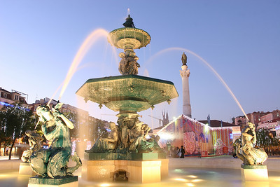 Fountain from the Rossio square, Lisboa, Portugal.