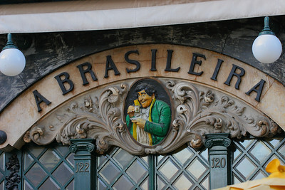 "Front wall of the famous ""A Brasileira"" confeiteria, Lisboa, Portugal."