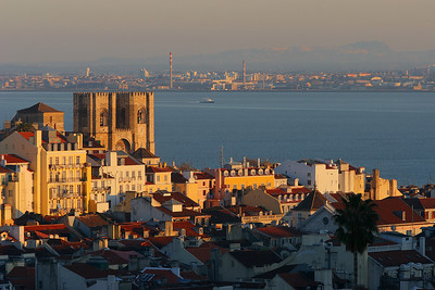 Overview of the city with the Tage river in the background, Lisboa, Portugal.