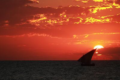Dhow at sunrise at Ilha de Mozambique, Mozambique.